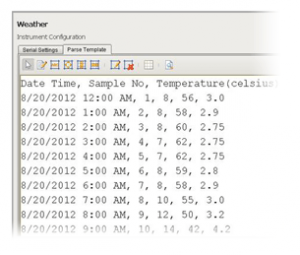 An example of the module's columnar-based CSV parse template that extracts date, time, sample number, temperature and humidity values and makes them available to be accessed in Ignition.
