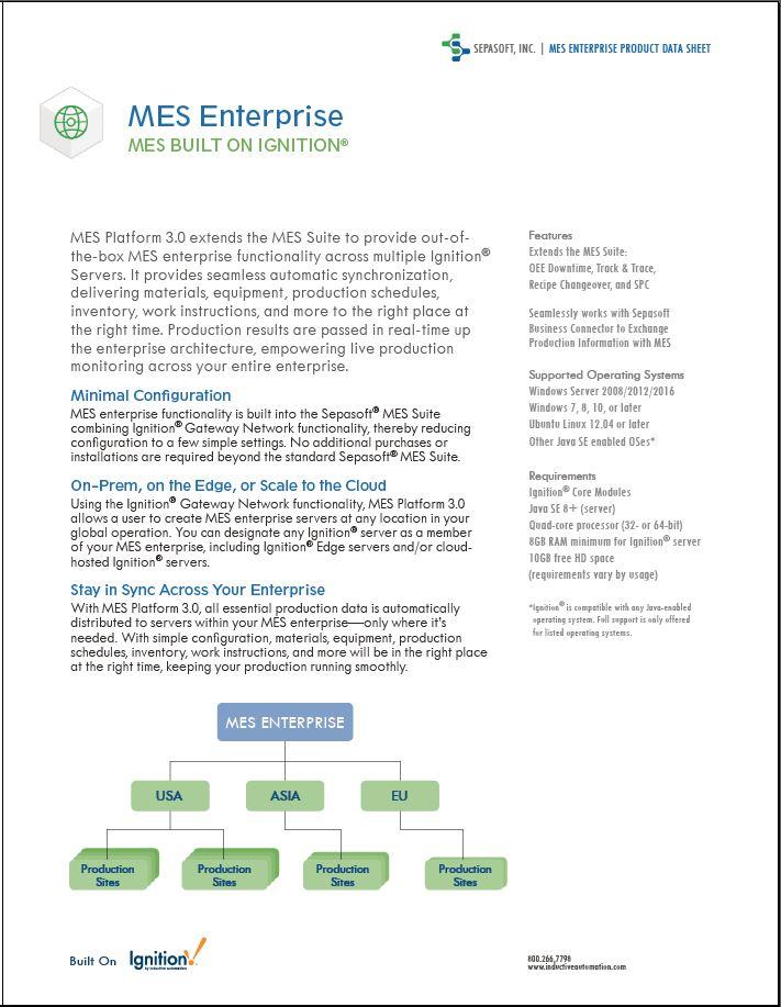 MES Enterprise Data Sheet