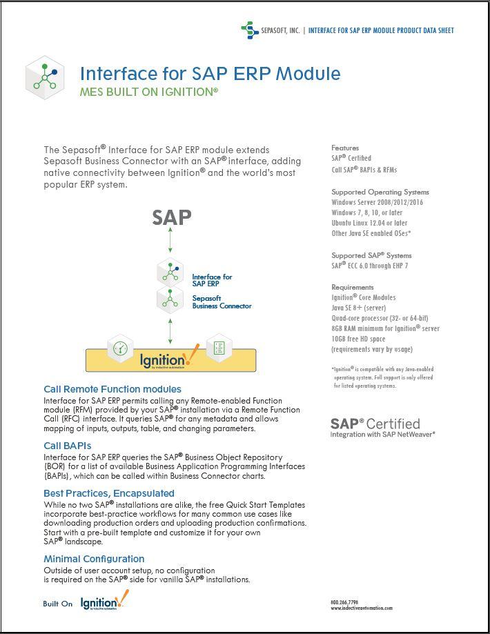Interface for SAP ERP Data Sheet