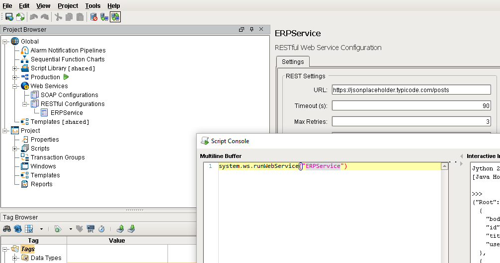 RESTful Web Service Configuration Screen Shot