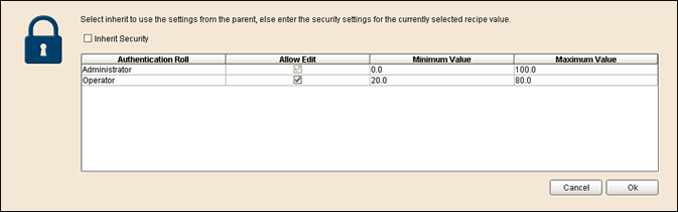 Recipe Sample Security Settings
