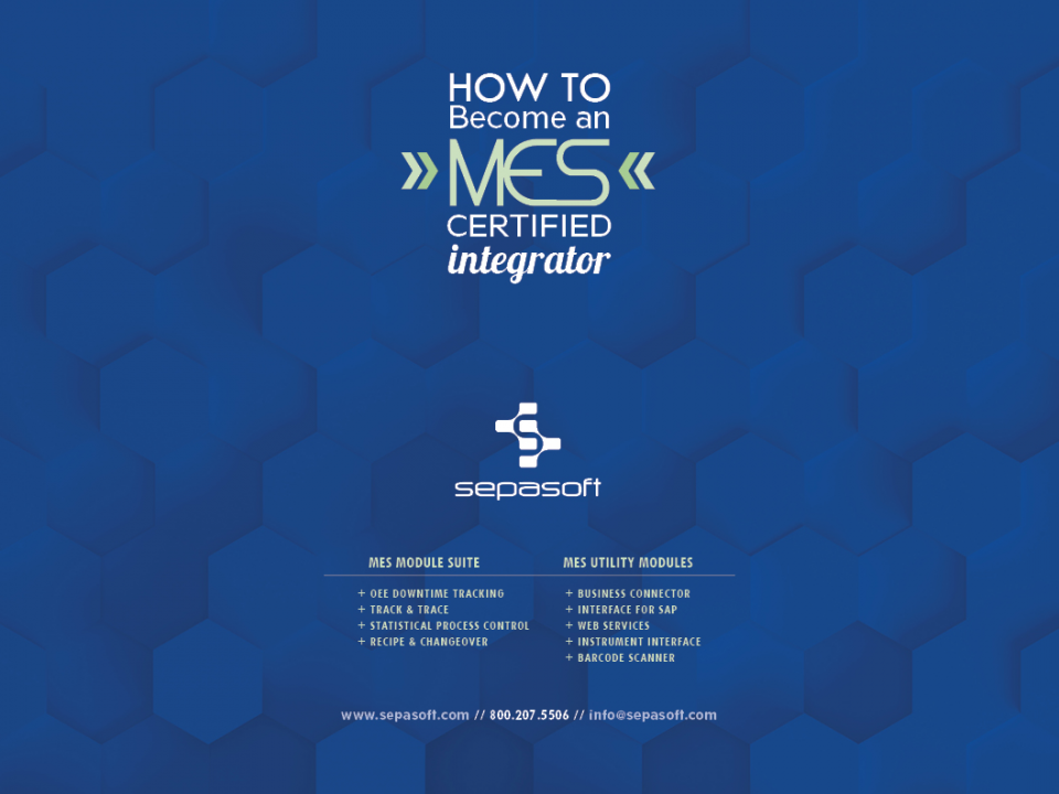 MES Certified Integrator Front Cover